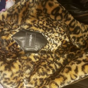 Outbrook real lather jacket w/leopard print fur